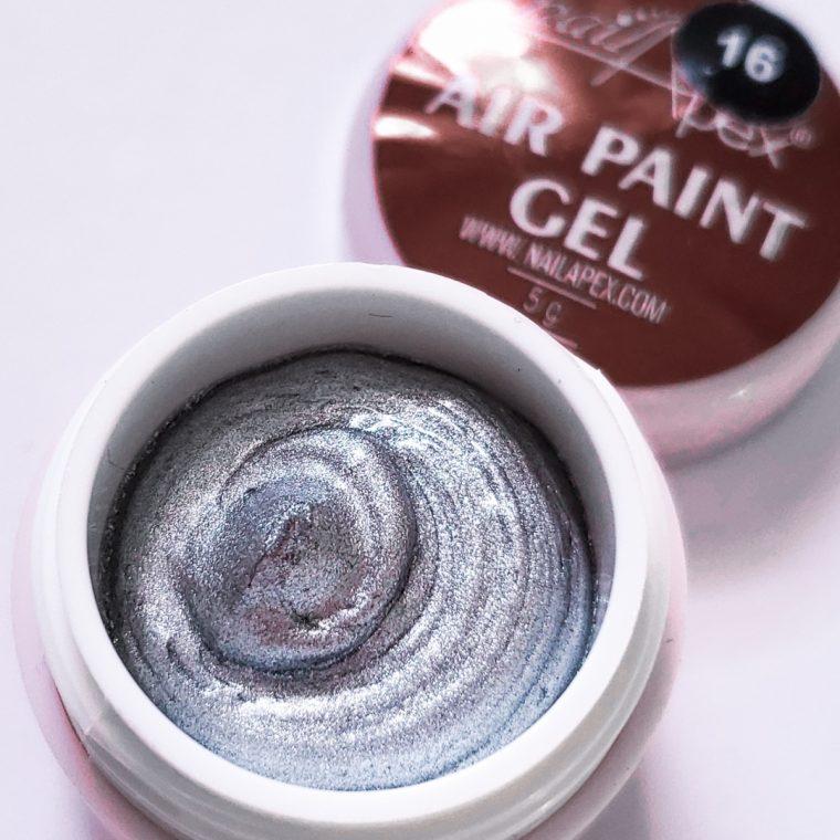 Аэропуффинг гель краска Air Paint Gel серебро